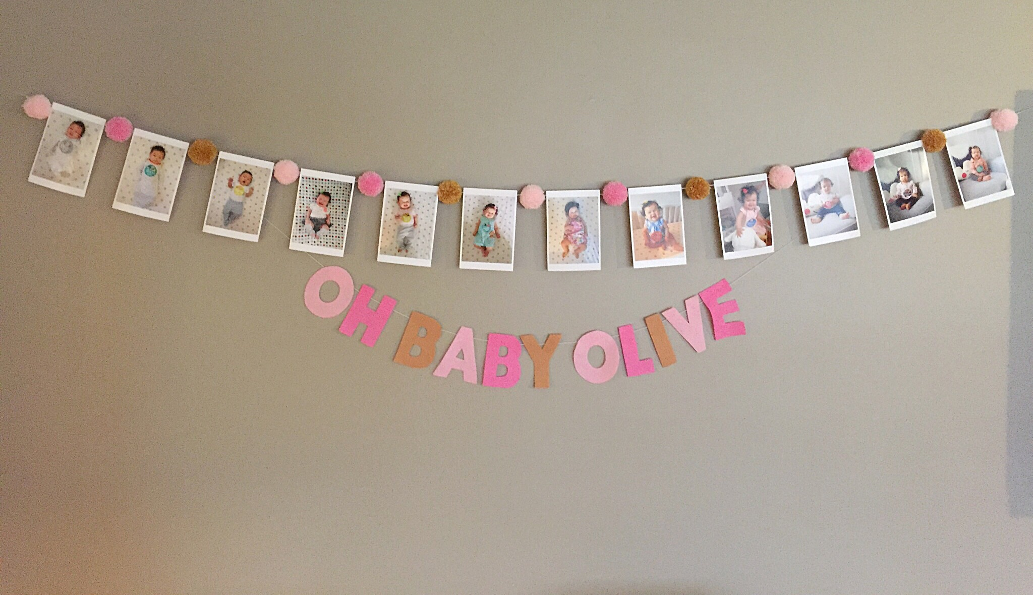 pink and gold first birthday monthly banner  tandem in love